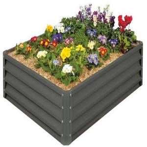 Stratco Raised Galvanized Steel Outdoor Rectangle Plant Garden Bed- Gray